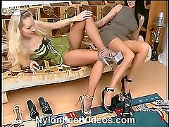 Rosaline&Sophia red hot nylon footsex