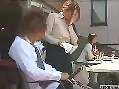 Japanese waitress spills something and gives a free handjob