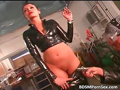 Brunette lady in leather acts in weird part6