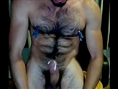 muscle Hot Hairy Guy Cums