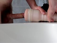 Enjoying a massiv orgasm in my fleshlight and filling a condom with hot cum