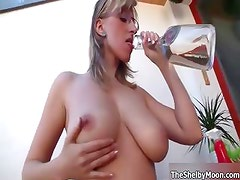 Busty blonde whore gets horny weting her part1