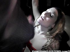 Hot slut gangbanged at the Adult Theater