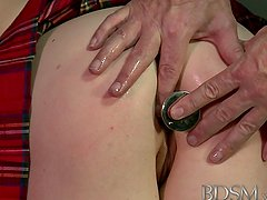 BDSM XXX Pale skinned beauty is face fucked before deep anal by Master