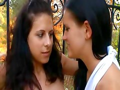 extreme lezzies fingering in a garden