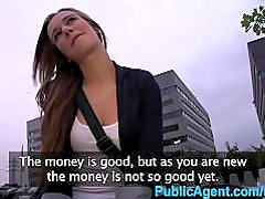 PublicAgent Young dumb brunette fucked outdoors by big cock