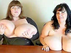 Two BBWs with Monster Boobs Talking Dirty and Jiggling their Big Tits