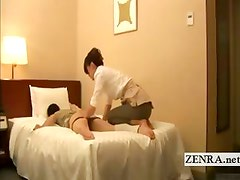 Subtitled kinky Japanese hotel ass massage by milf