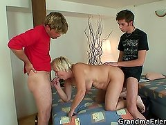 Two friends bang very old granny