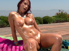 Redhead MILF Nikki Hunter Gets All Oiled Up for Outdoors Sex