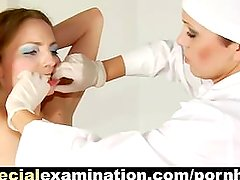 Young blonde babe and kinky gynecologist