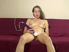 Amateur talks about cuckold fantasies while masturbating to orgasm