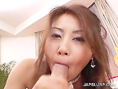Slutty asian working horny cock in close-up