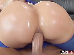 Hot blonde Anikka Albrite oiled and anal fucked hardcore