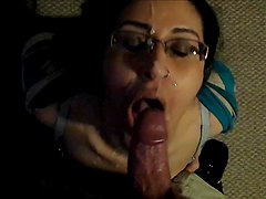 Mature Amateur with Glasses Enjoying a Heavy Facial