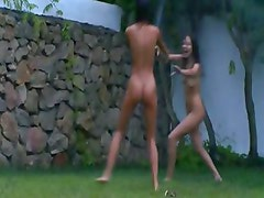 polish chicks watersports in the garden