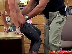 Cute reality blonde fingered for some cash