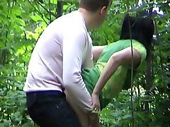 Girlfriend caught fucking in the woods