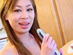 Hot shaved box on hardcore Asian slut
