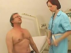 Redhead nurse with skillful mouth is sucking penis in the hospital