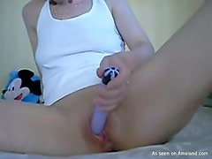 Horny Teen Plays With A Dildo And Her Wet Pussy