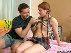Cute Teen with Pigtailed Braids Getting Her Shaved Pussy Fucked