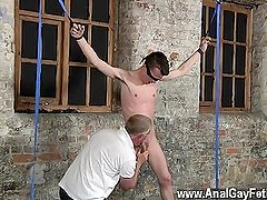 Romanian gay sex Sean McKenzie is strapped up and at the mercy of sir