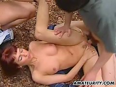 Amateur girlfriend outdoor threesome with cum
