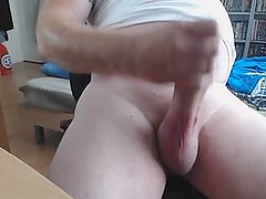 English guy Adam wanking his big cock.