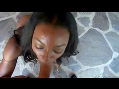 Outdoors he fucks her pretty black pussy in POV