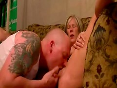 Leggy blonde cougar enjoys sucking cock and getting fingered