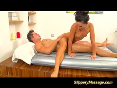 Slippery massage hot handjob