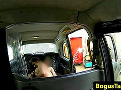 Busty taxi amateur cocksucking on backseat