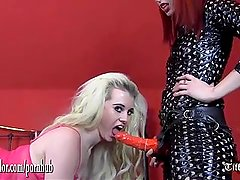 Dirty young blonde takes doms big strapon cock in slutty mouth and pussy