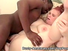 Busty amateur Fiona on interracial fucking