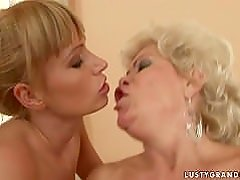Bi-granny threesome with a young couple