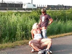 RISKY PUBLIC threesome sex with a cute girl by highway!