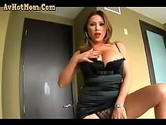 Busty Mother Strips for Not Her Son and Fucks