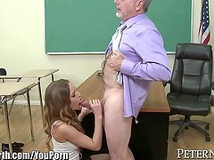 Schoolgirl Tries to Fuck her Old Teacher