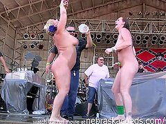 milfy chicks with big ole tits stripping down in an iowa biker rally wet t contest