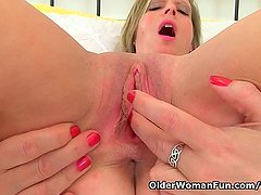 British milf Silky works her nipples and pussy