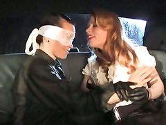Madison Young pleasure a blindfolded lezzy babe by biting on her breast