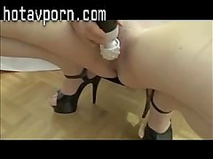 Amateur in black dress and heels masturbating to orgasm.mp4