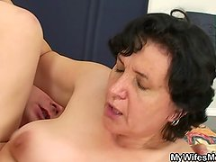 Hairy pussy old mother and boy sex