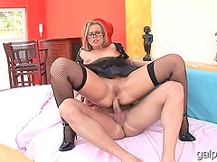Big Tit Babe With Glasses Fucked In All Holes