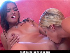 Two gorgeous lesbian bitches enjoying some really hot sex games