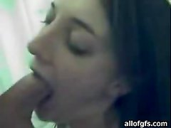 Teen Brunette Deep Throating Her Boyfriend's Hard Cock