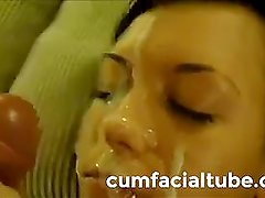 Amateur girl with lot of cum in her face