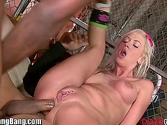 Teen with Braces Gangbanged and Creampied