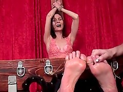 sexy milf kira tickle torture in the stock